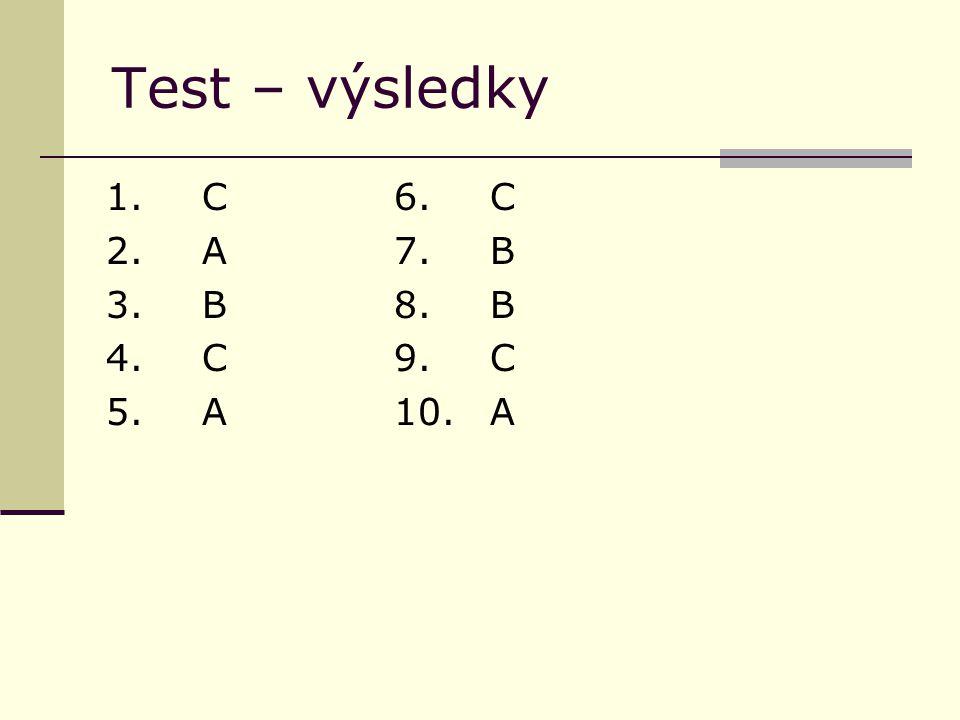 Test – výsledky 1.C6.C 2. A7.B 3. B8.B 4. C9.C 5.A10.A