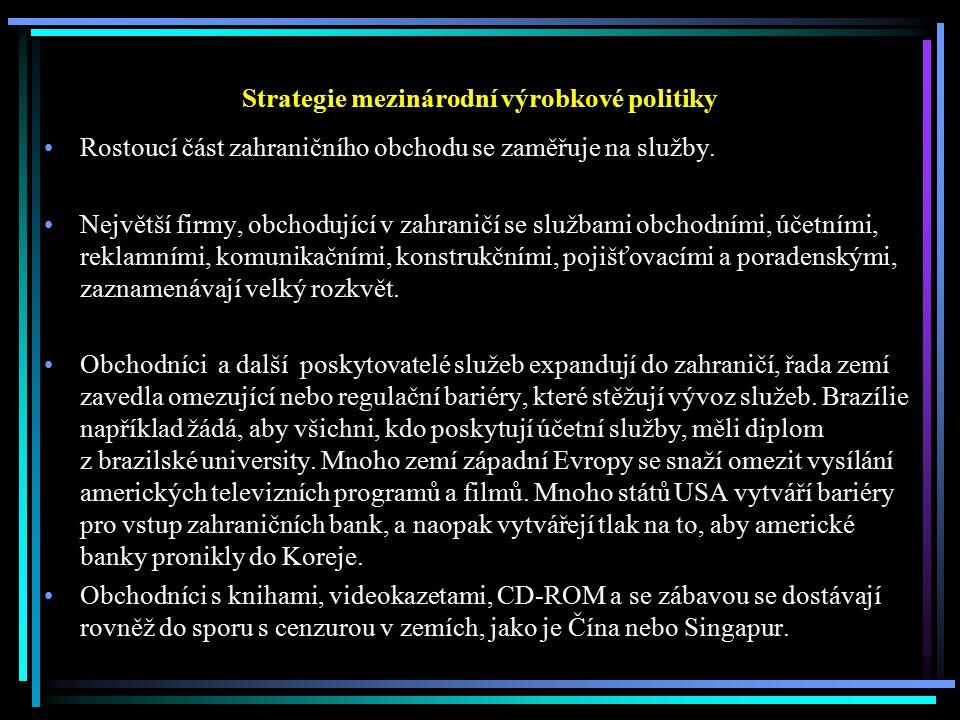 Strategie mezinárodní výrobkové politiky Rostoucí část zahraničního obchodu se zaměřuje na služby. Největší firmy, obchodující v zahraničí se službami