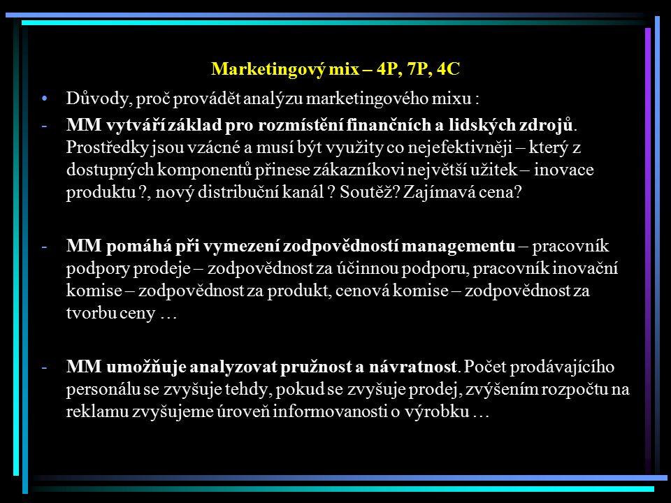 Marketingový mix – 4P, 7P, 4C Důvody, proč provádět analýzu marketingového mixu : -MM vytváří základ pro rozmístění finančních a lidských zdrojů. Pros