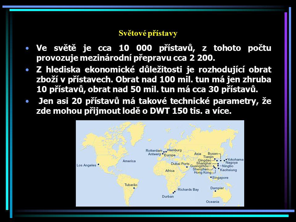 Světové přístavy Ve světě je cca 10 000 přístavů, z tohoto počtu provozuje mezinárodní přepravu cca 2 200. Z hlediska ekonomické důležitosti je rozhod