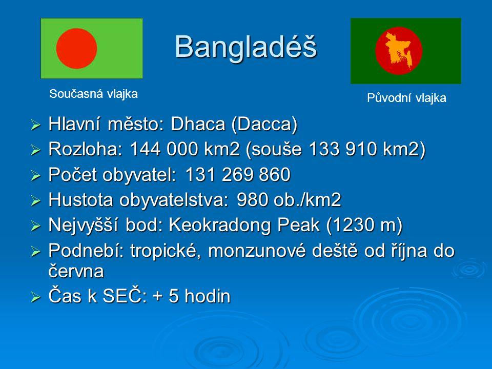 Bangladéš  Hlavní město: Dhaca (Dacca)  Rozloha: 144 000 km2 (souše 133 910 km2)  Počet obyvatel: 131 269 860  Hustota obyvatelstva: 980 ob./km2 