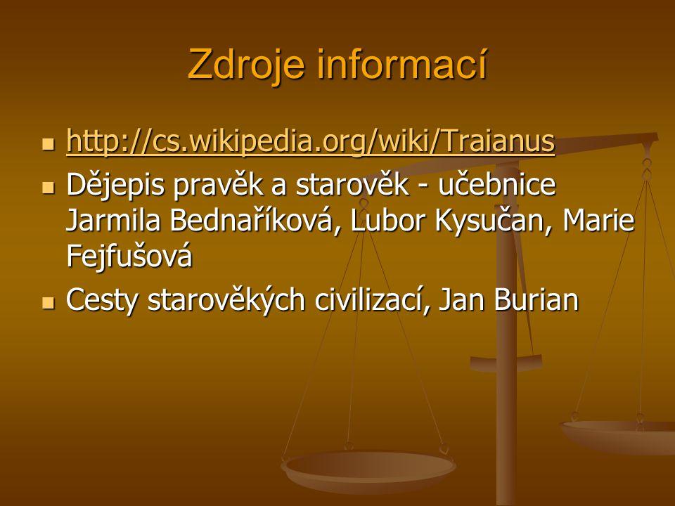 Zdroje informací http://cs.wikipedia.org/wiki/Traianus http://cs.wikipedia.org/wiki/Traianus http://cs.wikipedia.org/wiki/Traianus Dějepis pravěk a st