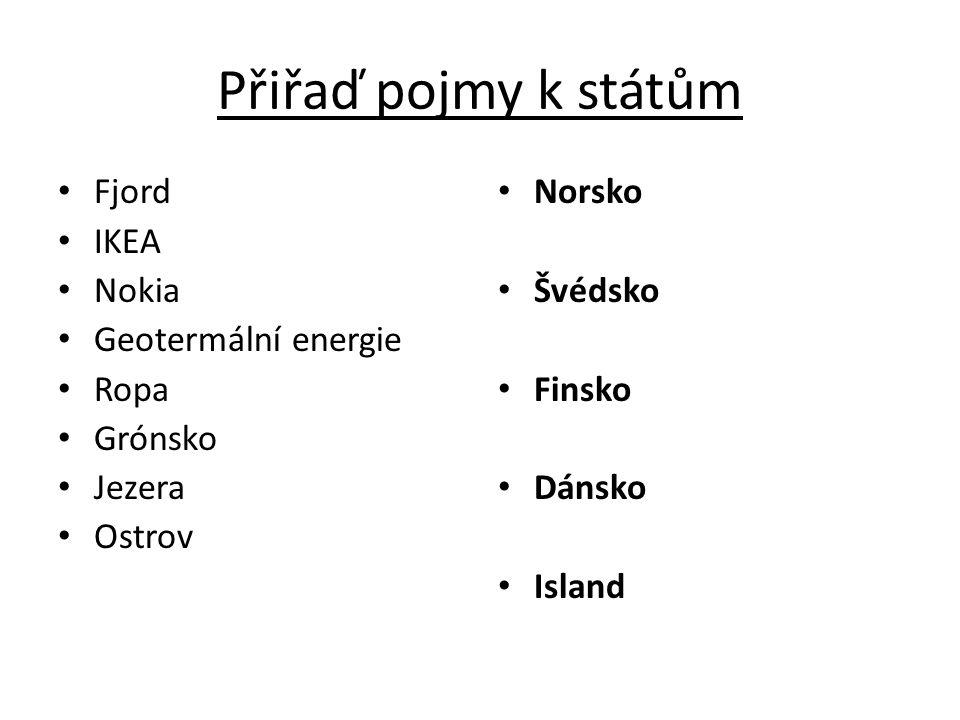 Přiřaď pojmy k státům Fjord IKEA Nokia Geotermální energie Ropa Grónsko Jezera Ostrov Norsko Švédsko Finsko Dánsko Island
