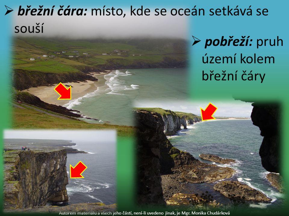  břežní čára: místo, kde se oceán setkává se souší Autorem materiálu a všech jeho částí, není-li uvedeno jinak, je Mgr.