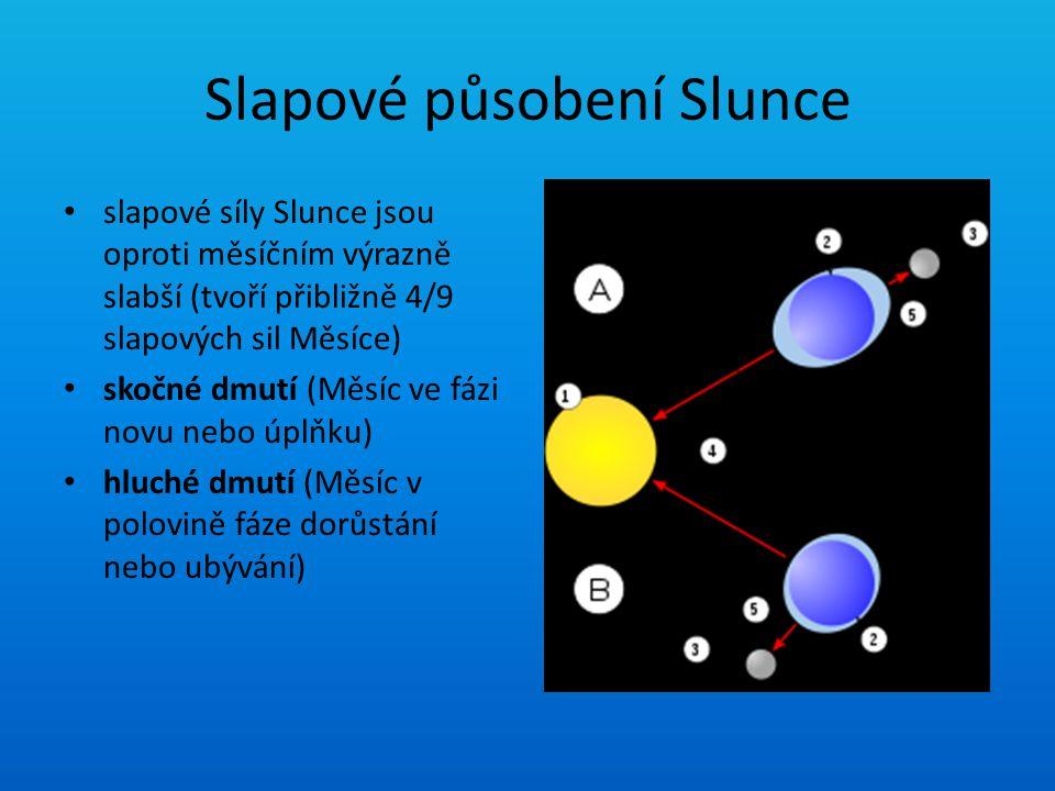 Slapové působení Slunce slapové síly Slunce jsou oproti měsíčním výrazně slabší (tvoří přibližně 4/9 slapových sil Měsíce) skočné dmutí (Měsíc ve fázi
