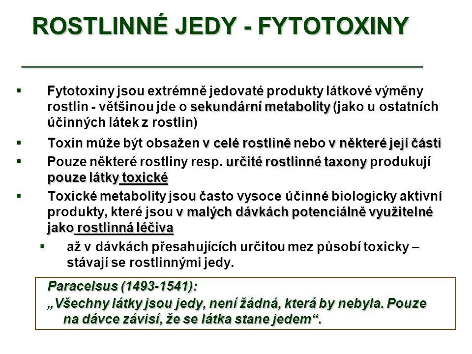 ROSTLINNÉ JEDY - FYTOTOXINY __________________________________  přesně chemicky definovány  Toxické metabolity jsou až na výjimky přesně chemicky definovány   Chemická klasifikace toxických látek z rostlin se do značné míry překrývá s tříděním léčebně využívaných rostlinných produktů Nejvíce toxických produktů se nachází ve skupinách: TERPENY: př.
