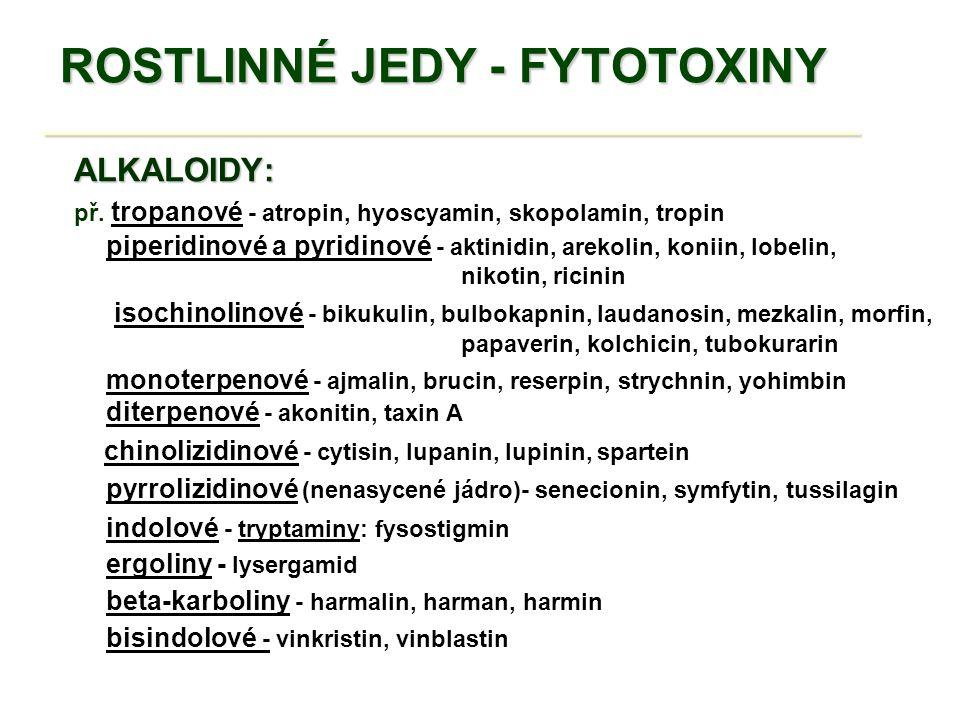 ROSTLINNÉ JEDY - FYTOTOXINY __________________________________ TOXICKÉ AMINOKYSELINY   asi 300 neproteinových aminokyselin   semena luštěnin - Fabaceae   L-hypoglycin (nezralé plody z Hippocastanaceae )   L-kanavanin, L-mimosin aj.