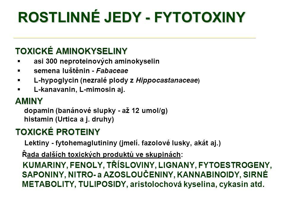 ROSTLINNÉ JEDY - FYTOTOXINY _________________________________ ROSTLINNÉ JEDY - FYTOTOXINY _________________________________ v rostlinných čeledích: Nejvíce toxických produktů se tvoří v rostlinných čeledích: Lilkovité - Liliaceae lilek, rulík, blín, durman Miříkovité - Apiaceae Rozpuk jízlivý – Cicuta virosa, krabilice, bolehlav, bolševník Pryskyřníkovité - Ranunculaceae pryšce, lýkovec, dymnivka, oměj šalamounek, vlaštovičník, čemeřice zelená Vikvovité - Fabaceae akát, štědřenec, vlčí bob, hrachory, čičorka Krtičníkovité - Scrophulariaceae náprstník červený, náprstník vlnatý Jiné čeledi : koukol, stulík, aron, zimolez, konvalinka, vraní oko čtyřlisté a j.