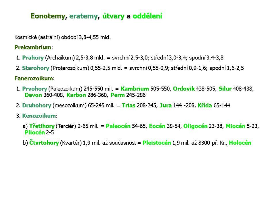 Eonotemy, eratemy, útvary a oddělení Kosmické (astrální) období 3,8-4,55 mld. Prekambrium: 1. Prahory (Archaikum) 2,5-3,8 mld. = svrchní 2,5-3,0; stře