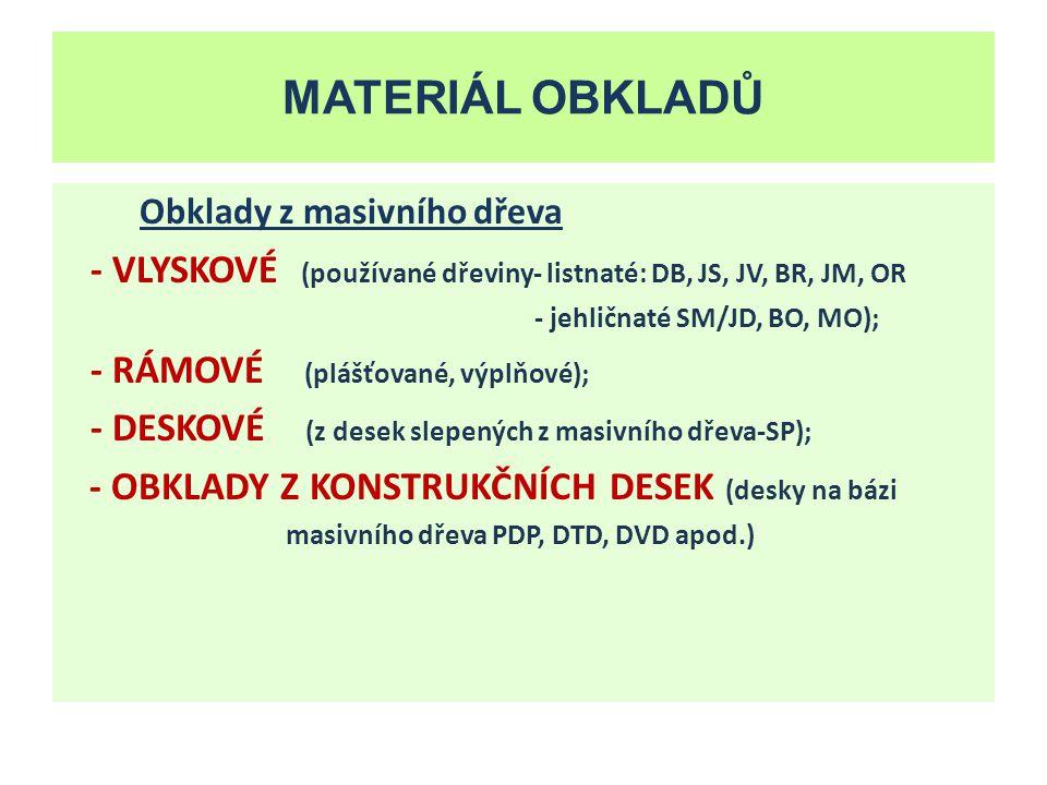 MATERIÁL OBKLADŮ Obklady z prefabrikovaných prvků - DŘEVOPLASTOVÉ VÝLISKY (aglomerovaný materiál potažený folií); - PLASTOVÉ VÝLISKY (různé druhy plastické hmoty); - KERAMICKÉ OBKLADOVÉ PRVKY (vnější i vnitřní obklady); - OBKLADY Z DESEK Z MINERÁLNÍM POJIVEM (sádrokartonové, sádrovláknité desky, cementotřískové desky…)