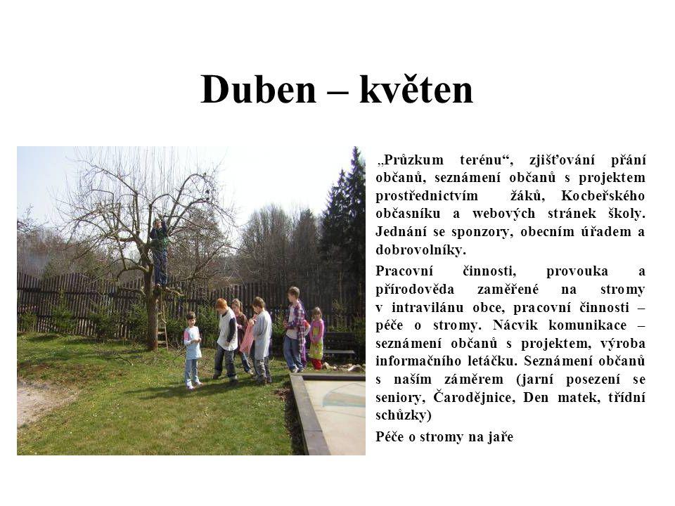 """Duben – květen – """"Průzkum terénu , zjišťování přání občanů, seznámení občanů s projektem prostřednictvím žáků, Kocbeřského občasníku a webových stránek školy."""