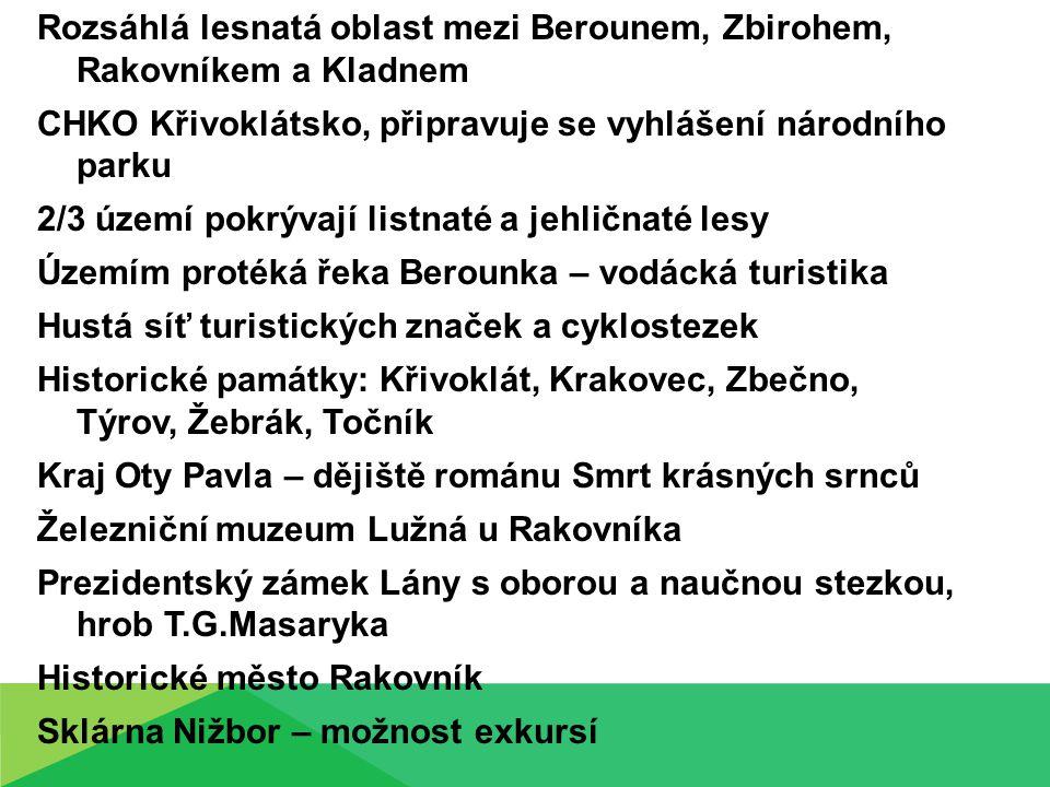 Rozsáhlá lesnatá oblast mezi Berounem, Zbirohem, Rakovníkem a Kladnem CHKO Křivoklátsko, připravuje se vyhlášení národního parku 2/3 území pokrývají l