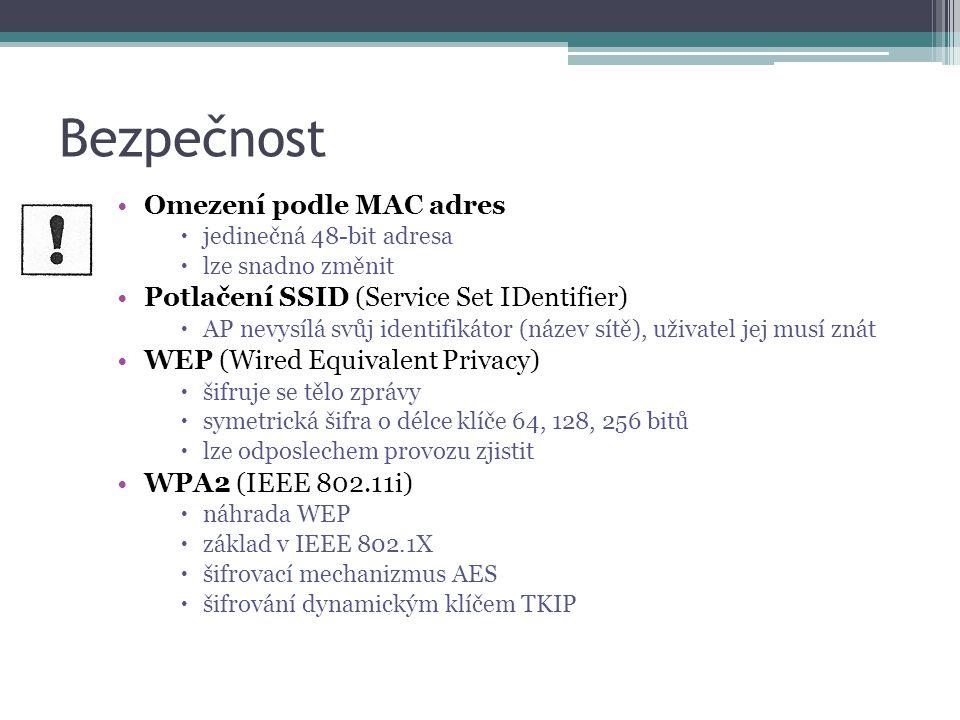 Bezpečnost Omezení podle MAC adres  jedinečná 48-bit adresa  lze snadno změnit Potlačení SSID (Service Set IDentifier)  AP nevysílá svůj identifikátor (název sítě), uživatel jej musí znát WEP (Wired Equivalent Privacy)  šifruje se tělo zprávy  symetrická šifra o délce klíče 64, 128, 256 bitů  lze odposlechem provozu zjistit WPA2 (IEEE 802.11i)  náhrada WEP  základ v IEEE 802.1X  šifrovací mechanizmus AES  šifrování dynamickým klíčem TKIP
