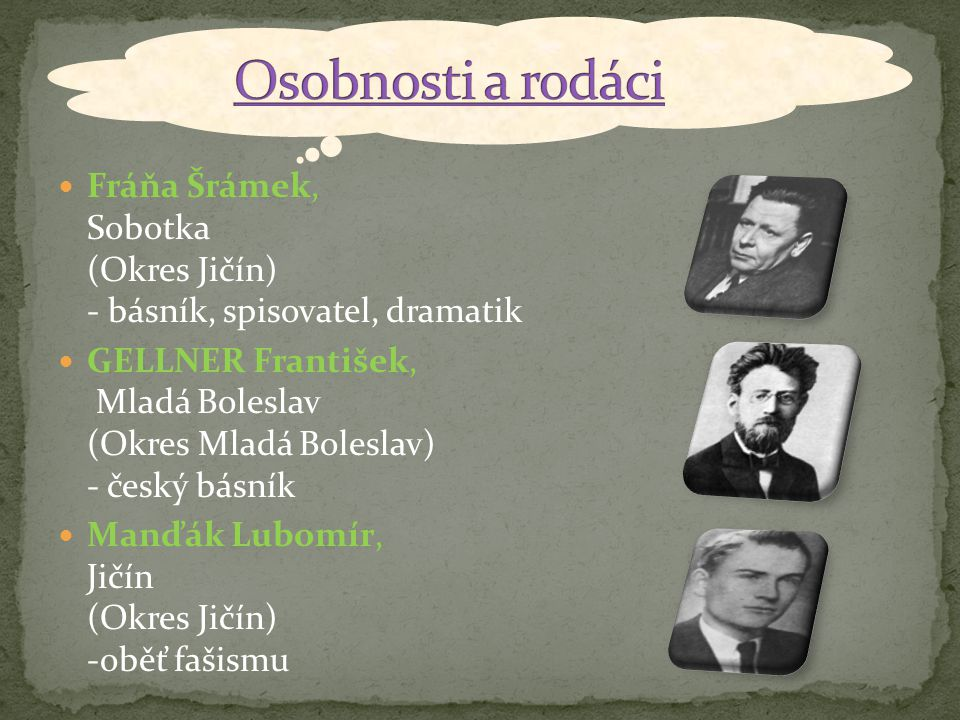 Fráňa Šrámek, Sobotka (Okres Jičín) - básník, spisovatel, dramatik GELLNER František, Mladá Boleslav (Okres Mladá Boleslav) - český básník Manďák Lubo