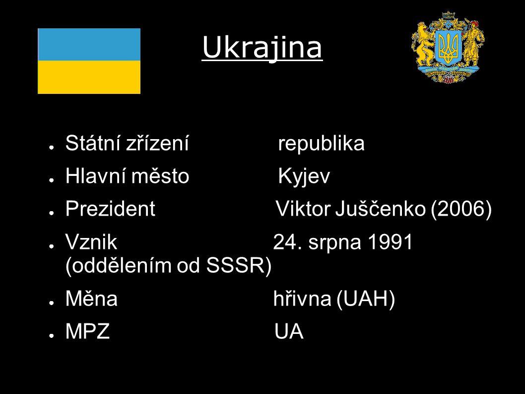 ● Státní zřízení republika ● Hlavní město Kyjev ● Prezident Viktor Juščenko (2006) ● Vznik 24. srpna 1991 (oddělením od SSSR) ● Měna hřivna (UAH) ● MP