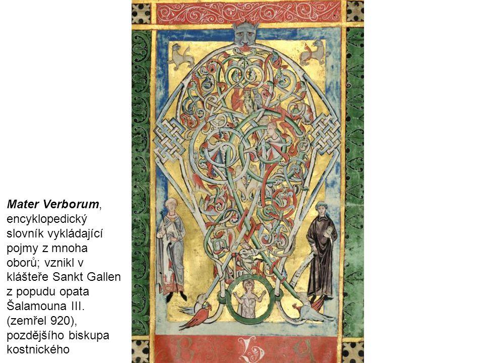 Mater Verborum, encyklopedický slovník vykládající pojmy z mnoha oborů; vznikl v klášteře Sankt Gallen z popudu opata Šalamouna III.