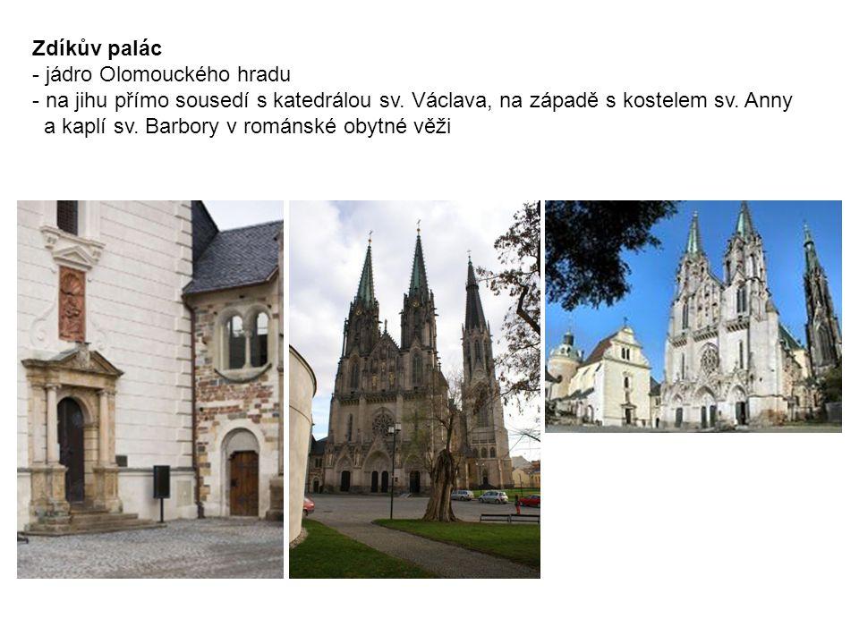 Zdíkův palác - jádro Olomouckého hradu - na jihu přímo sousedí s katedrálou sv.