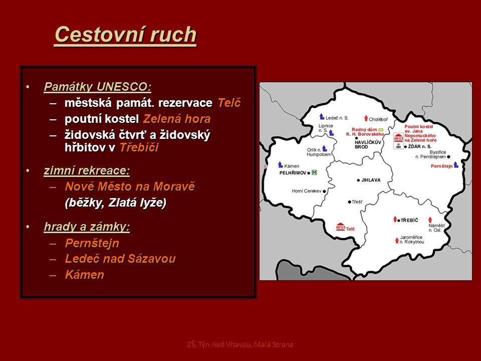 Cestovní ruch Památky UNESCO:Památky UNESCO: –městská památ. rezervace Telč –poutní kostel Zelená hora –židovská čtvrť a židovský hřbitov v Třebíči zi