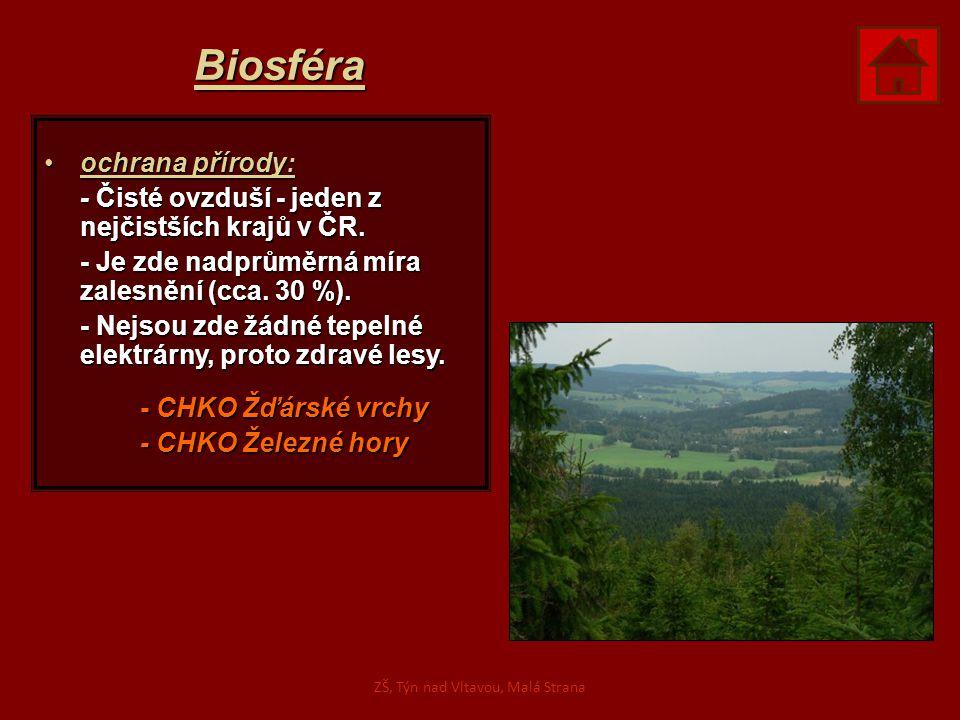 Biosféra ochrana přírody:ochrana přírody: - Čisté ovzduší - jeden z nejčistších krajů v ČR. - Je zde nadprůměrná míra zalesnění (cca. 30 %). - Nejsou