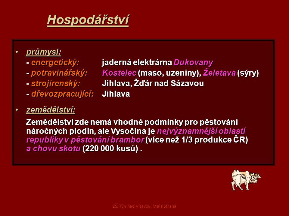 Hospodářství průmysl:průmysl: - energetický: jaderná elektrárna Dukovany - potravinářský: Kostelec (maso, uzeniny), Želetava (sýry) - strojírenský: Ji