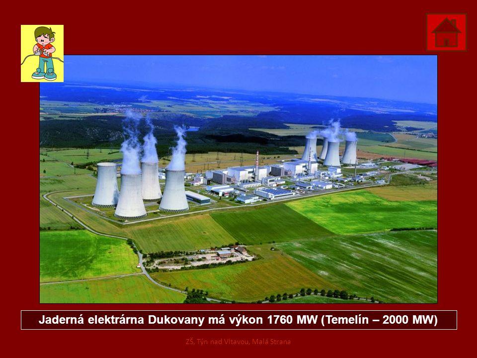 Jaderná elektrárna Dukovany má výkon 1760 MW (Temelín – 2000 MW) ZŠ, Týn nad Vltavou, Malá Strana