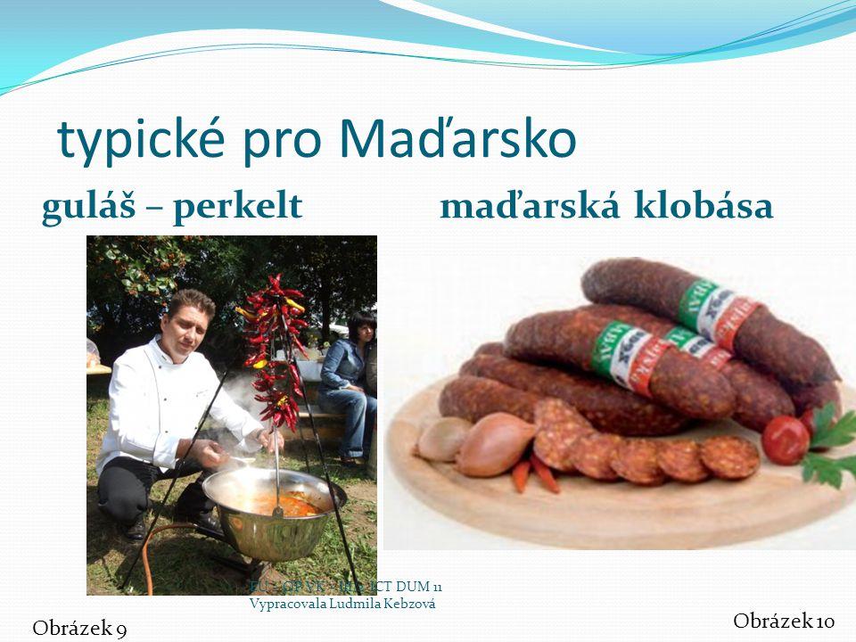 typické pro Maďarsko guláš – perkelt maďarská klobása Obrázek 9 Obrázek 10 EU – OP VK – III/2 ICT DUM 11 Vypracovala Ludmila Kebzová