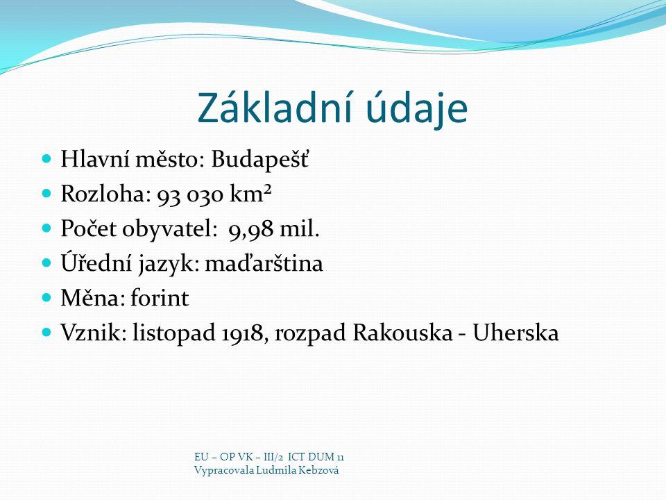 Základní údaje Hlavní město: Budapešť Rozloha: 93 030 km² Počet obyvatel: 9,98 mil. Úřední jazyk: maďarština Měna: forint Vznik: listopad 1918, rozpad