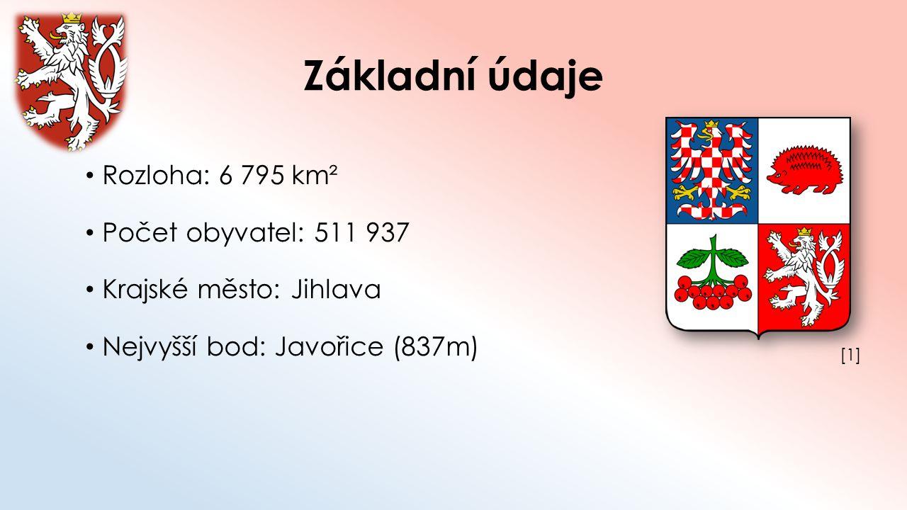 Základní údaje Rozloha: 6 795 km² Počet obyvatel: 511 937 Krajské město: Jihlava Nejvyšší bod: Javořice (837m) [1][1]