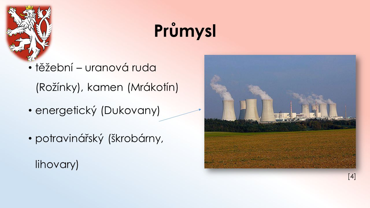 Průmysl těžební – uranová ruda (Rožínky), kamen (Mrákotín) energetický (Dukovany) potravinářský (škrobárny, lihovary) [4][4]