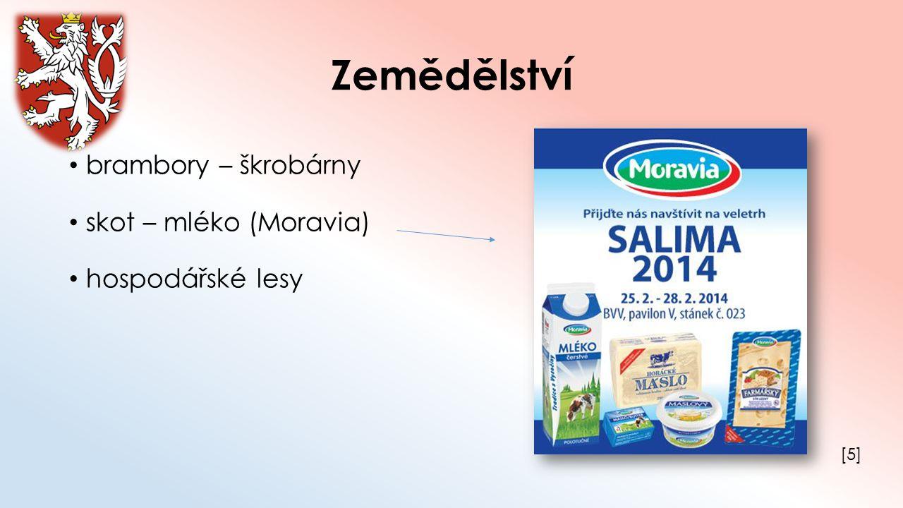 Zemědělství brambory – škrobárny skot – mléko (Moravia) hospodářské lesy [5][5]