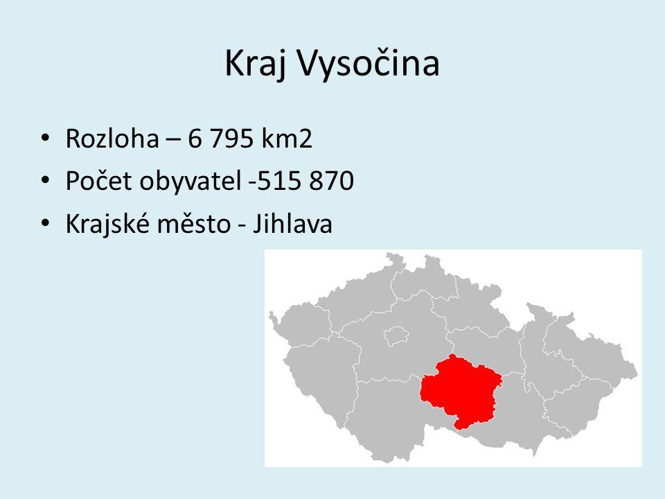 Kraj Vysočina Rozloha – 6 795 km2 Počet obyvatel -515 870 Krajské město - Jihlava