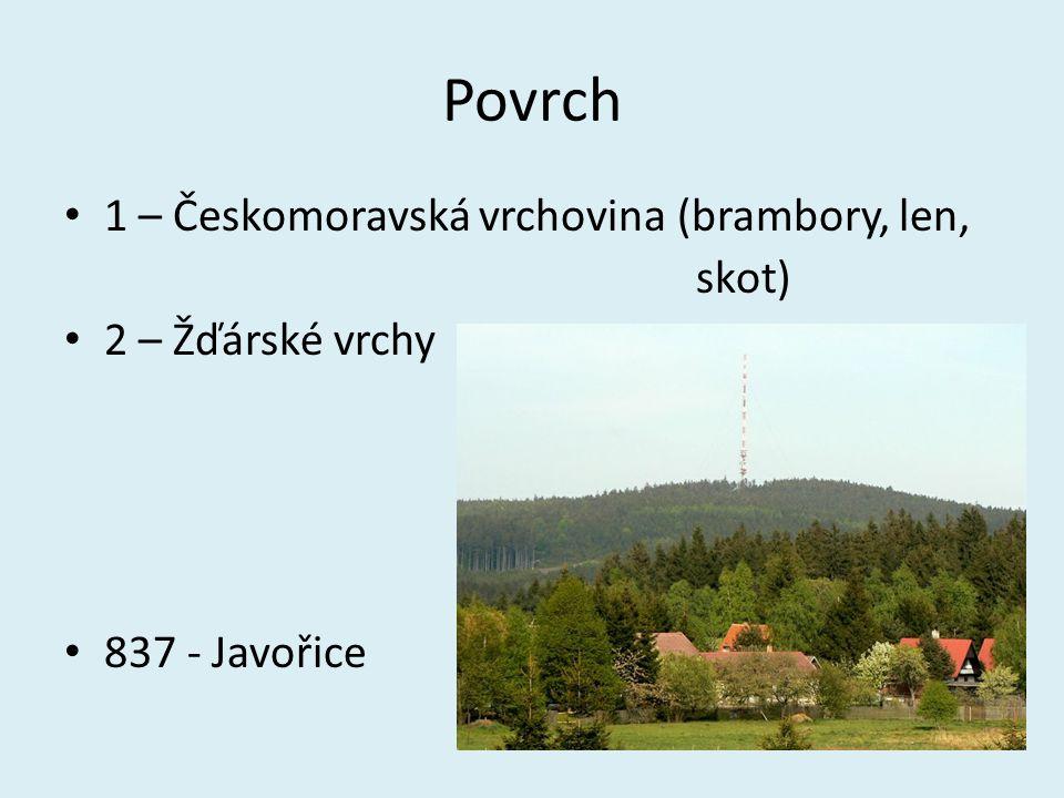 Povrch 1 – Českomoravská vrchovina (brambory, len, skot) 2 – Žďárské vrchy 837 - Javořice