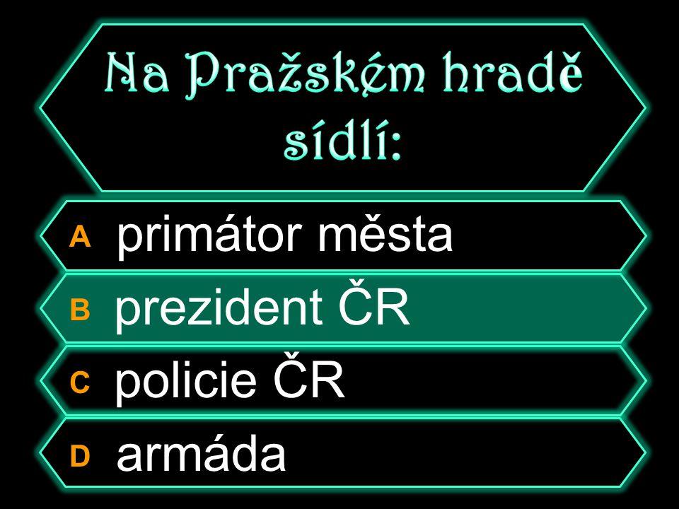 A primátor města B prezident ČR C policie ČR D armáda