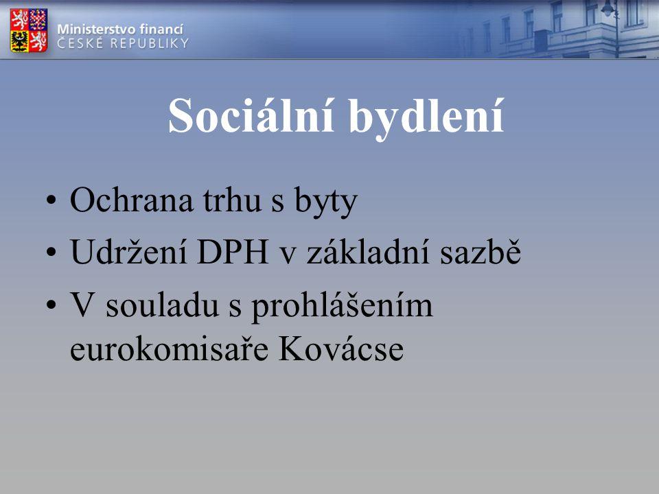 Sociální bydlení Ochrana trhu s byty Udržení DPH v základní sazbě V souladu s prohlášením eurokomisaře Kovácse