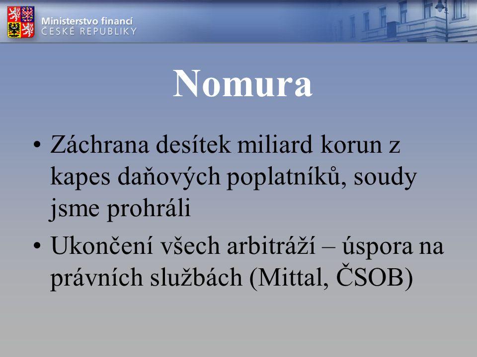 Nomura Záchrana desítek miliard korun z kapes daňových poplatníků, soudy jsme prohráli Ukončení všech arbitráží – úspora na právních službách (Mittal, ČSOB)