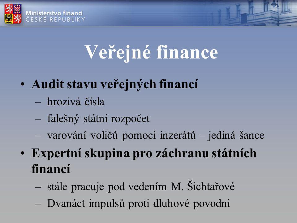 Veřejné finance Audit stavu veřejných financí – hrozivá čísla – falešný státní rozpočet – varování voličů pomocí inzerátů – jediná šance Expertní skupina pro záchranu státních financí – stále pracuje pod vedením M.
