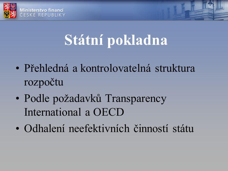 Státní pokladna Přehledná a kontrolovatelná struktura rozpočtu Podle požadavků Transparency International a OECD Odhalení neefektivních činností státu