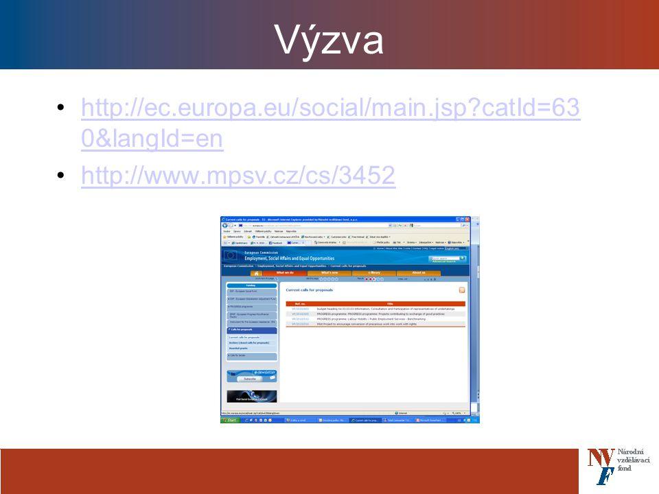 Výzva http://ec.europa.eu/social/main.jsp catId=63 0&langId=enhttp://ec.europa.eu/social/main.jsp catId=63 0&langId=en http://www.mpsv.cz/cs/3452