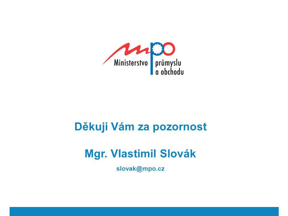 Děkuji Vám za pozornost Mgr. Vlastimil Slovák slovak@mpo.cz