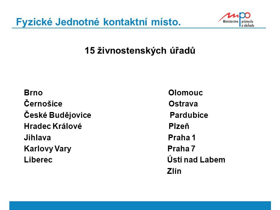 Fyzické Jednotné kontaktní místo. 15 živnostenských úřadů Brno Olomouc Černošice Ostrava České Budějovice Pardubice Hradec Králové Plzeň Jihlava Praha