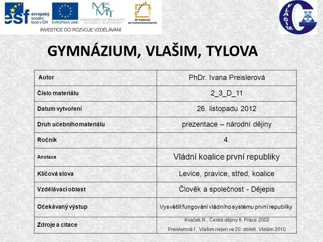GYMNÁZIUM, VLAŠIM, TYLOVA Autor PhDr.
