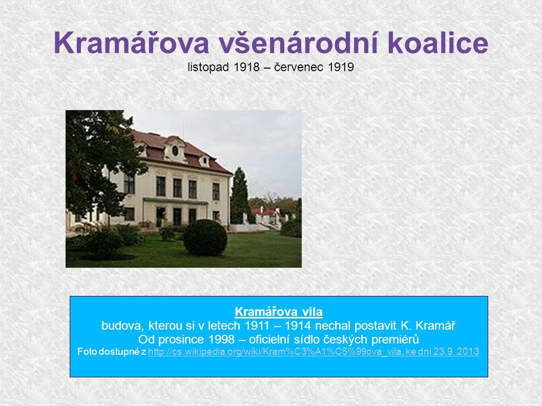 Kramářova všenárodní koalice listopad 1918 – červenec 1919 Kramářova vila budova, kterou si v letech 1911 – 1914 nechal postavit K.