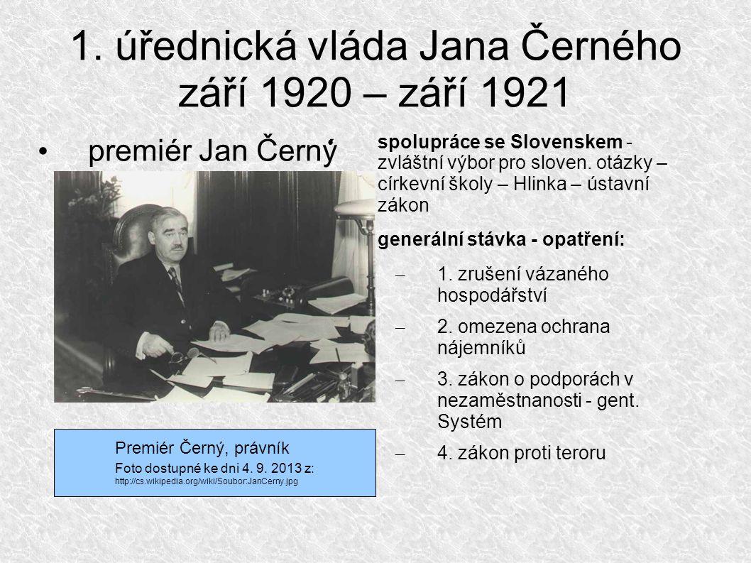 Poloúřednická vláda všenárodní koalice září 1921 – říjen 1922 premiér E.