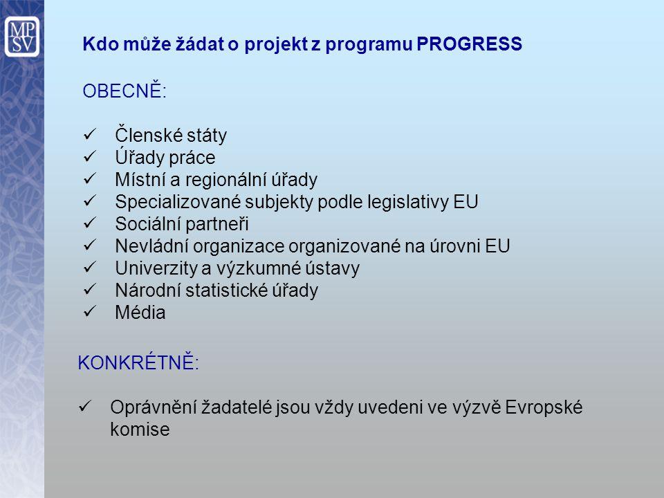 Kdo může žádat o projekt z programu PROGRESS OBECNĚ: Členské státy Úřady práce Místní a regionální úřady Specializované subjekty podle legislativy EU Sociální partneři Nevládní organizace organizované na úrovni EU Univerzity a výzkumné ústavy Národní statistické úřady Média KONKRÉTNĚ: Oprávnění žadatelé jsou vždy uvedeni ve výzvě Evropské komise