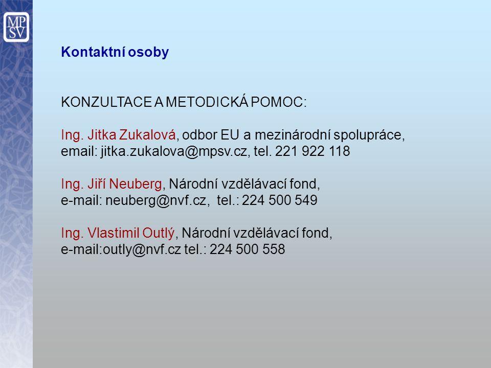 Kontaktní osoby KONZULTACE A METODICKÁ POMOC: Ing.