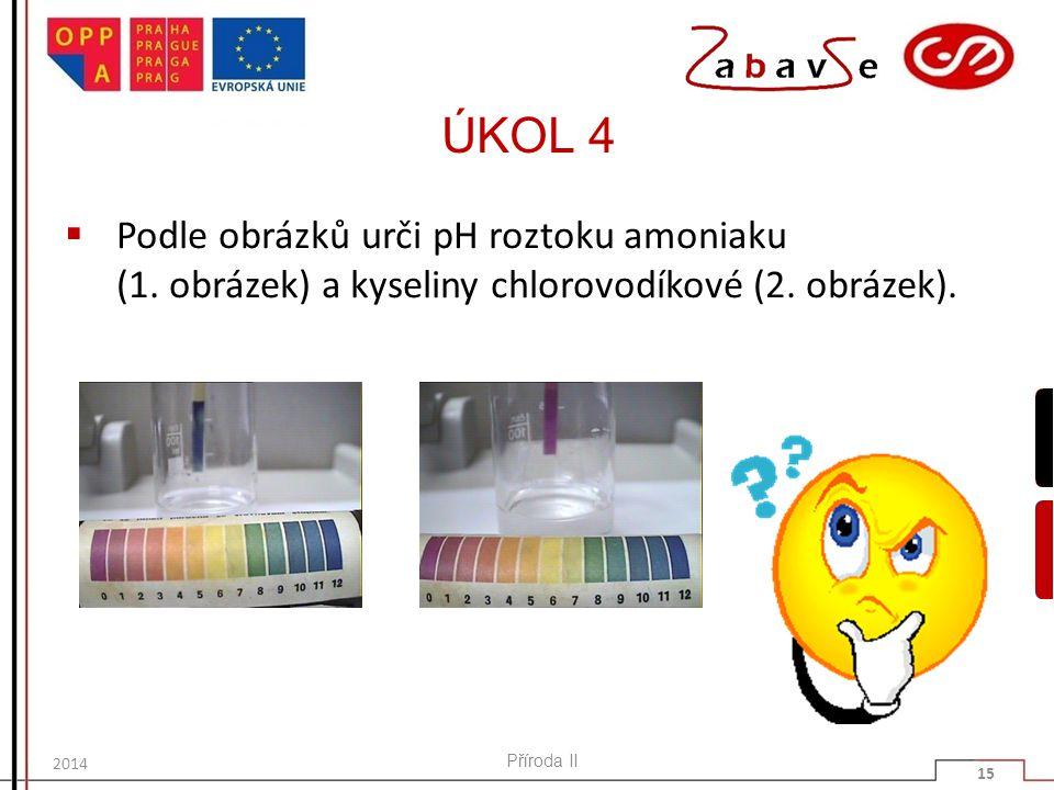 ÚKOL 4  Podle obrázků urči pH roztoku amoniaku (1.