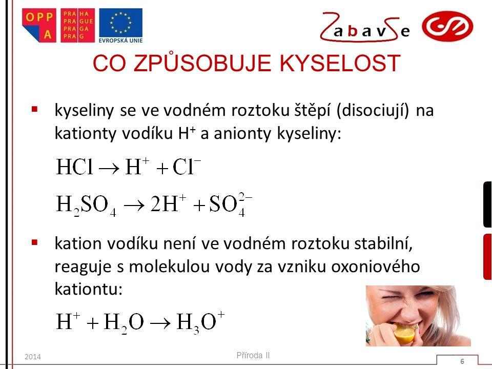 CO ZPŮSOBUJE KYSELOST  příčinou kyselosti vodných roztoků kyselin je zvýšené množství oxoniových kationtů H 3 O + Příroda II 7 2014