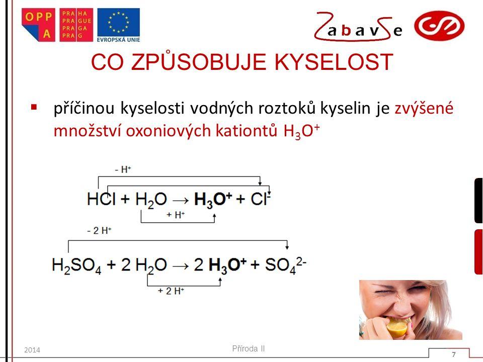 SHRNUTÍ  Příčinou kyselosti vodných roztoků kyselin je zvýšené množství kationtů H3O +.