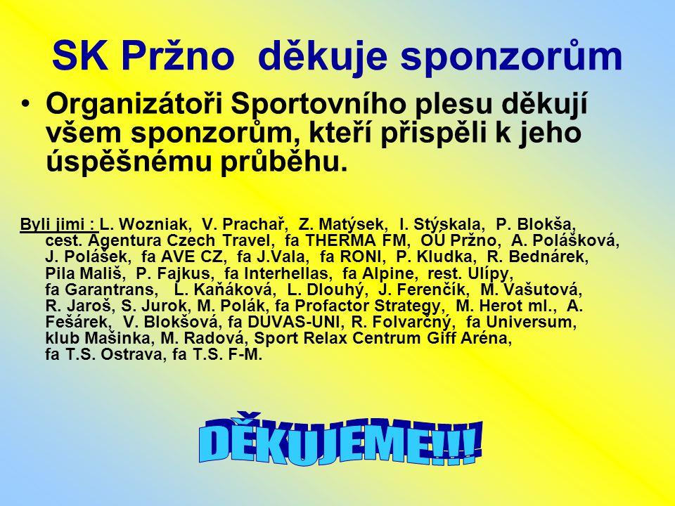 SK Pržno děkuje sponzorům Organizátoři Sportovního plesu děkují všem sponzorům, kteří přispěli k jeho úspěšnému průběhu.