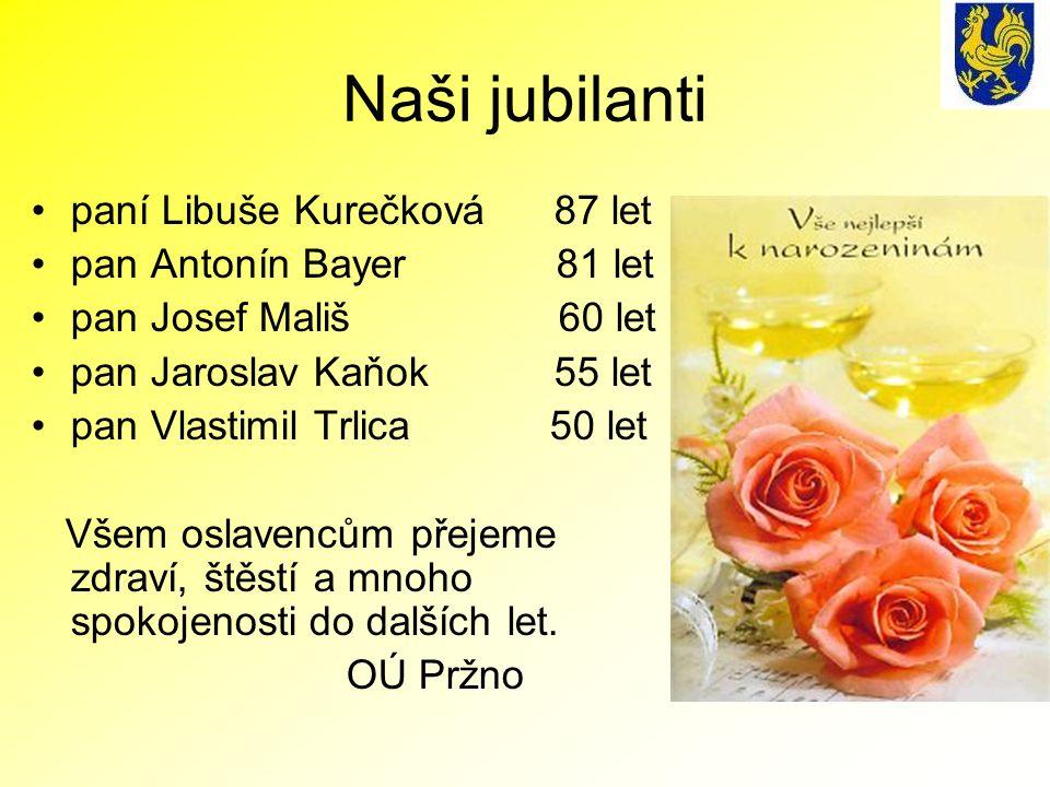 Naši jubilanti paní Libuše Kurečková 87 let pan Antonín Bayer 81 let pan Josef Mališ 60 let pan Jaroslav Kaňok 55 let pan Vlastimil Trlica 50 let Všem oslavencům přejeme zdraví, štěstí a mnoho spokojenosti do dalších let.